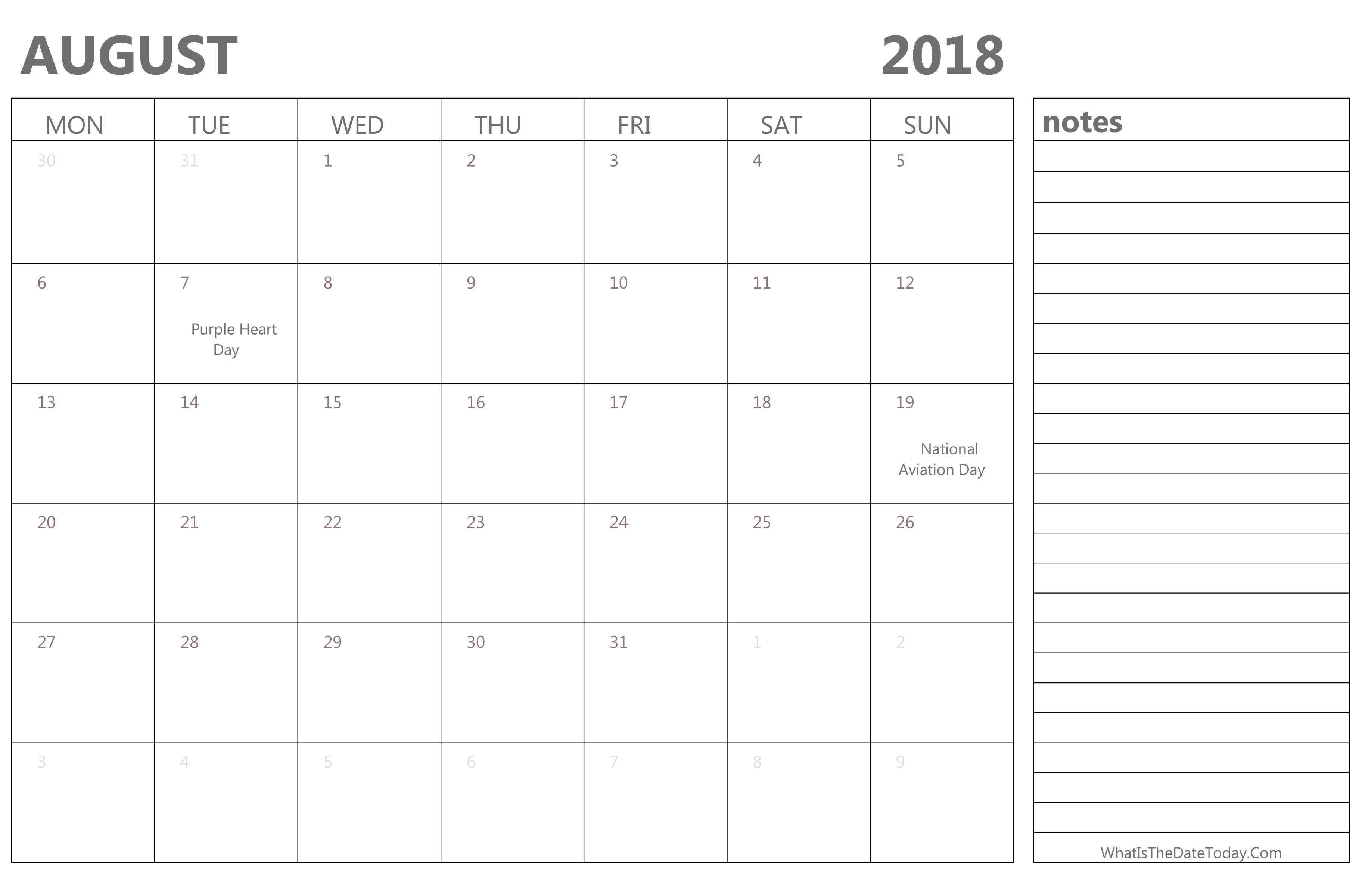 editable august 2018 calendar with holidays and notes