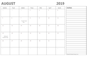 editable august 2019 calendar with holidays and notes