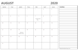 editable august 2020 calendar with holidays and notes