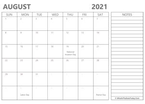 editable 2021 august calendar with notes
