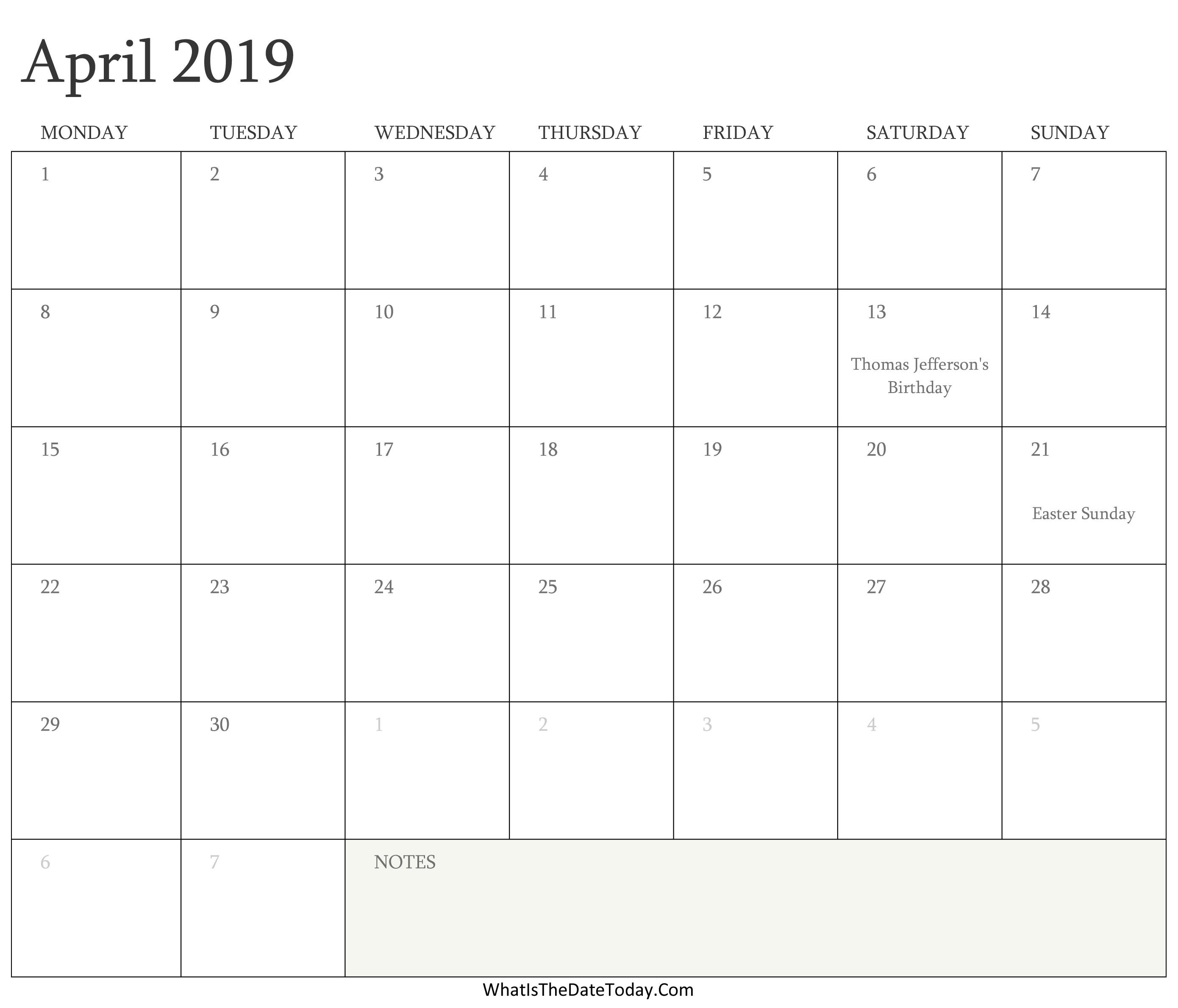 Editable Calendar April 2019 With Holidays