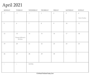editable calendar april 2021 with holidays
