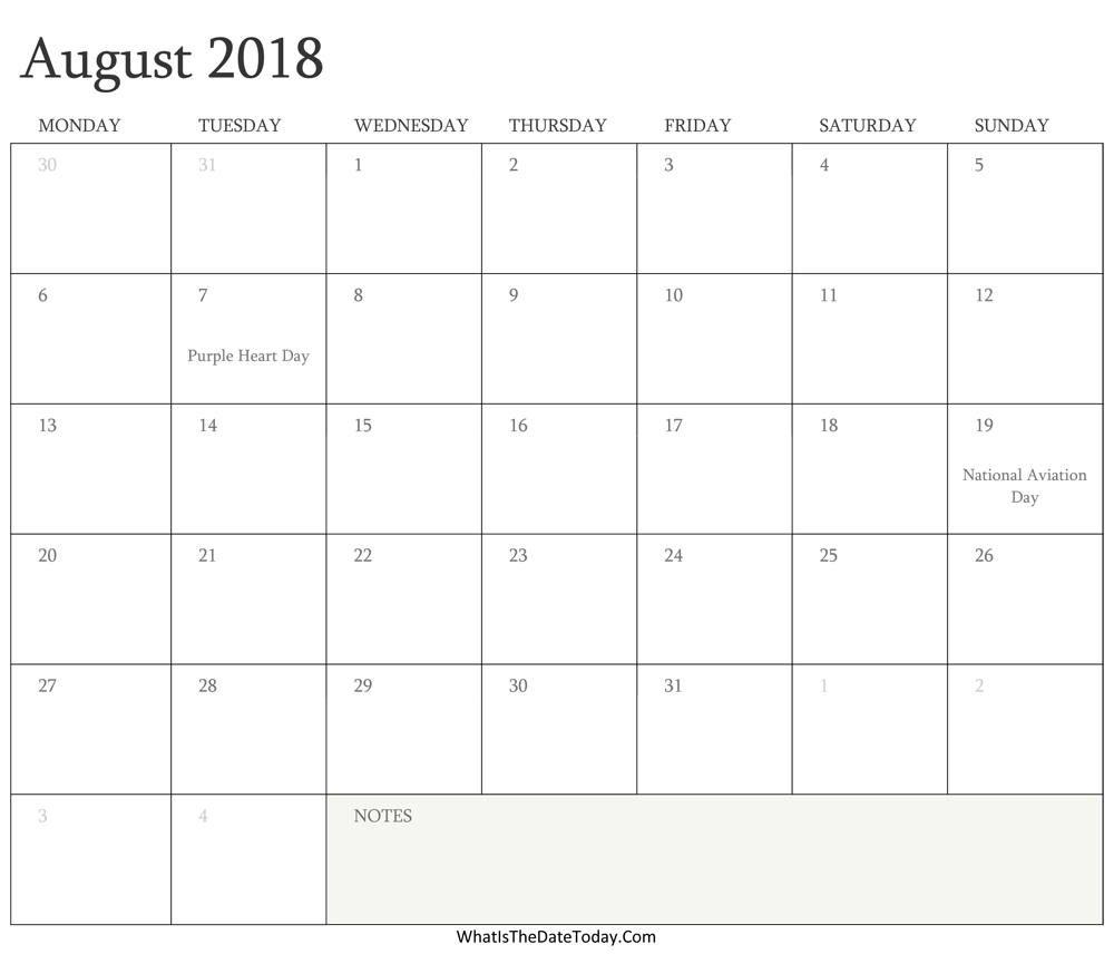 Editable Calendar august 2018 with Holidays