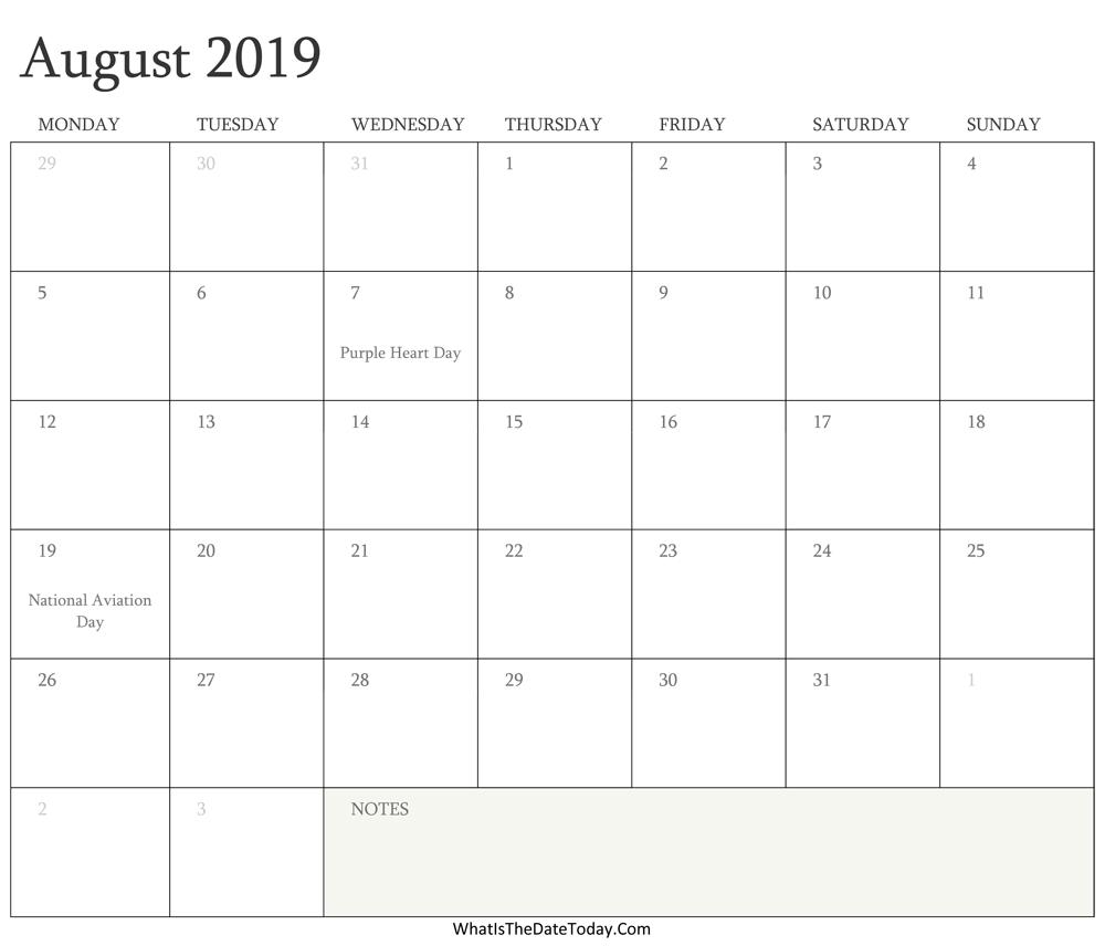 Editable Calendar August 2019 With Holidays Whatisthedatetoday Com