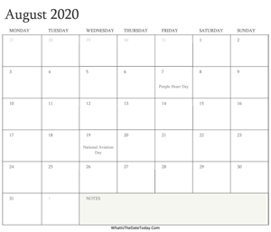 editable calendar august 2020 with holidays
