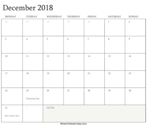 editable calendar december 2018 with holidays