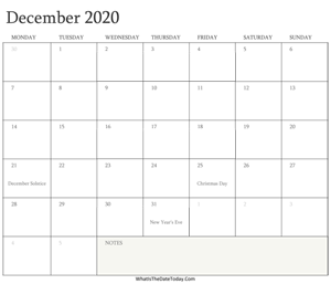 editable calendar december 2020 with holidays
