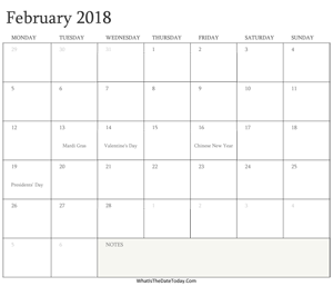 editable calendar february 2018 with holidays