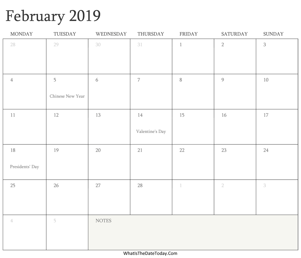 Editable Calendar february 2019 with Holidays