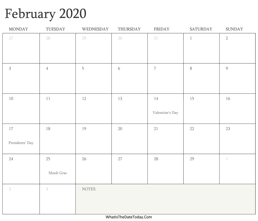 Editable Calendar february 2020 with Holidays