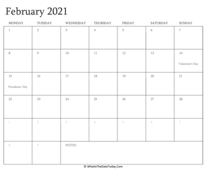 editable calendar february 2021 with holidays