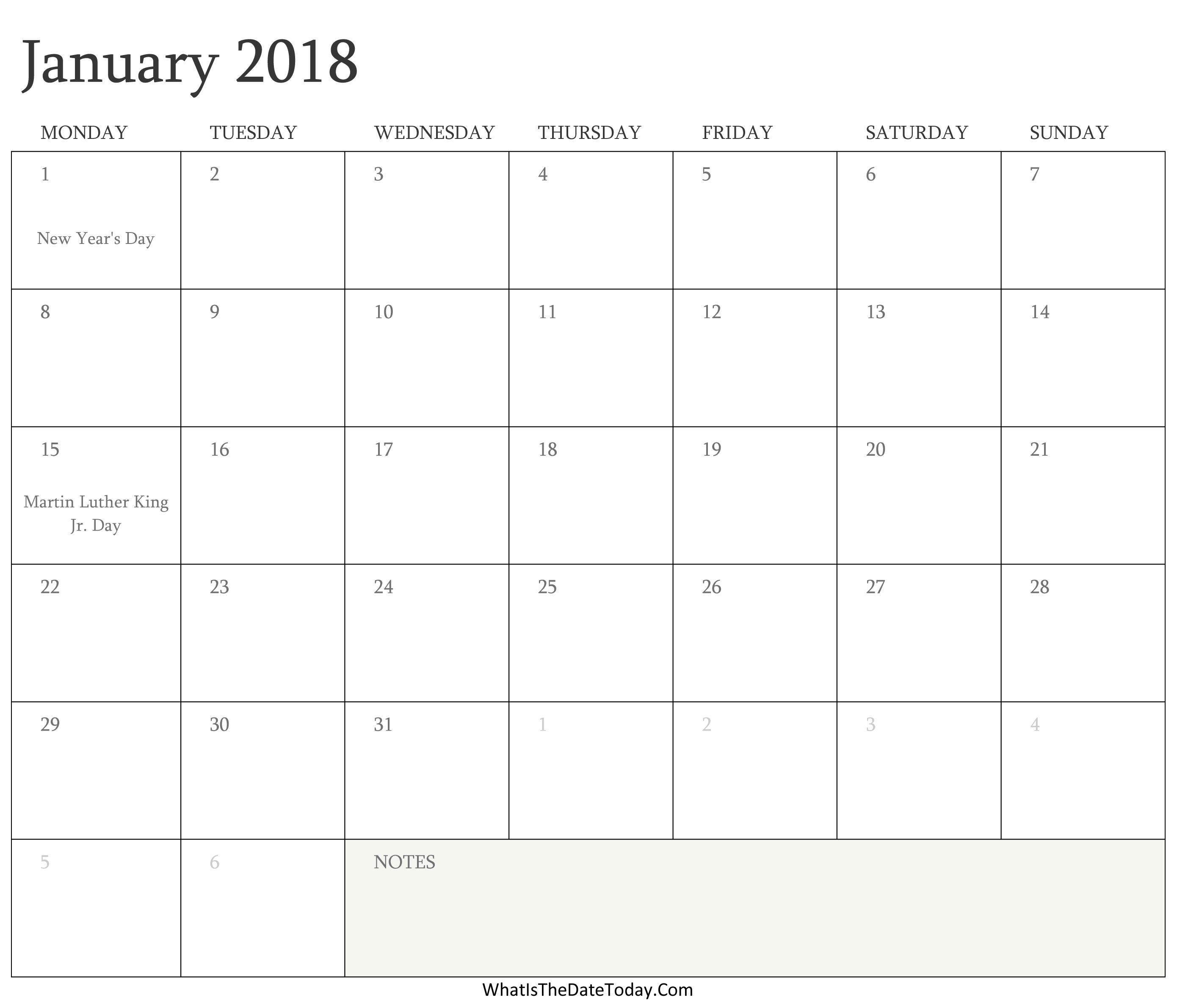 editable calendar january 2018 with holidays