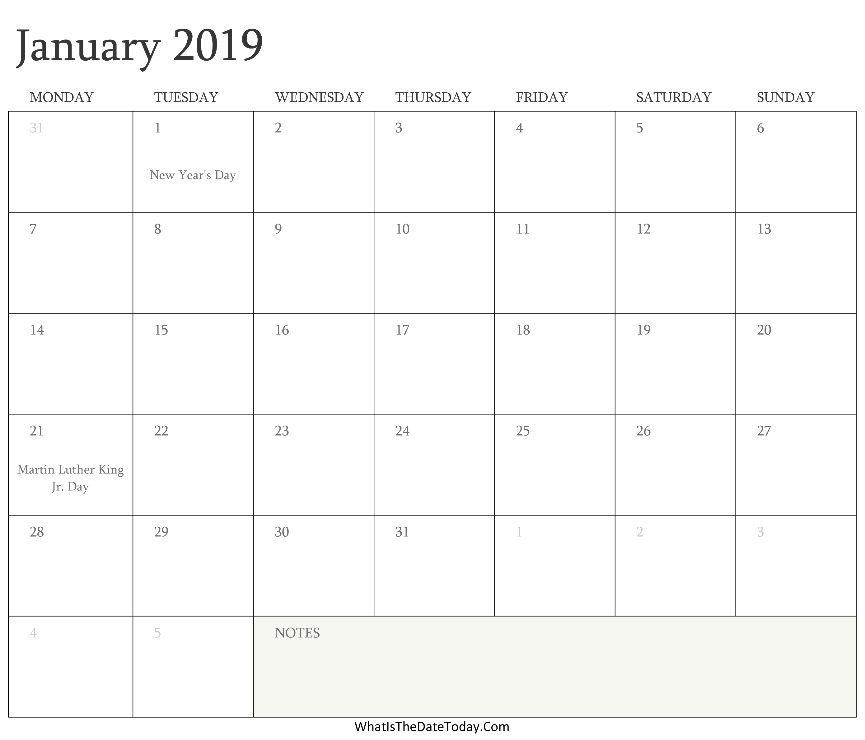 editable calendar january 2019 with holidays whatisthedatetoday com