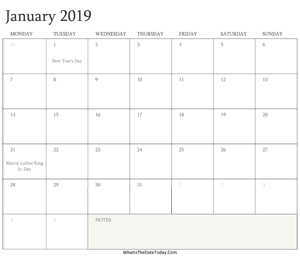 editable calendar january 2019 with holidays