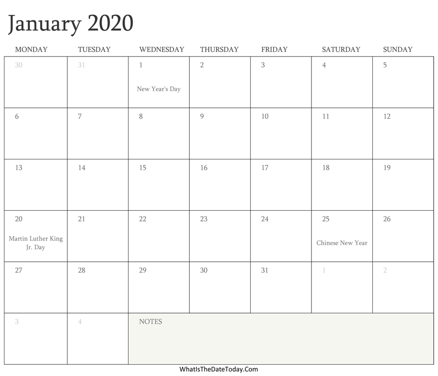 Editable Calendar January 2020 Template: Editable Calendar January 2020 With Holidays