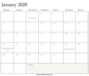 editable calendar january 2020 with holidays