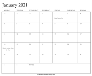 editable calendar january 2021 with holidays