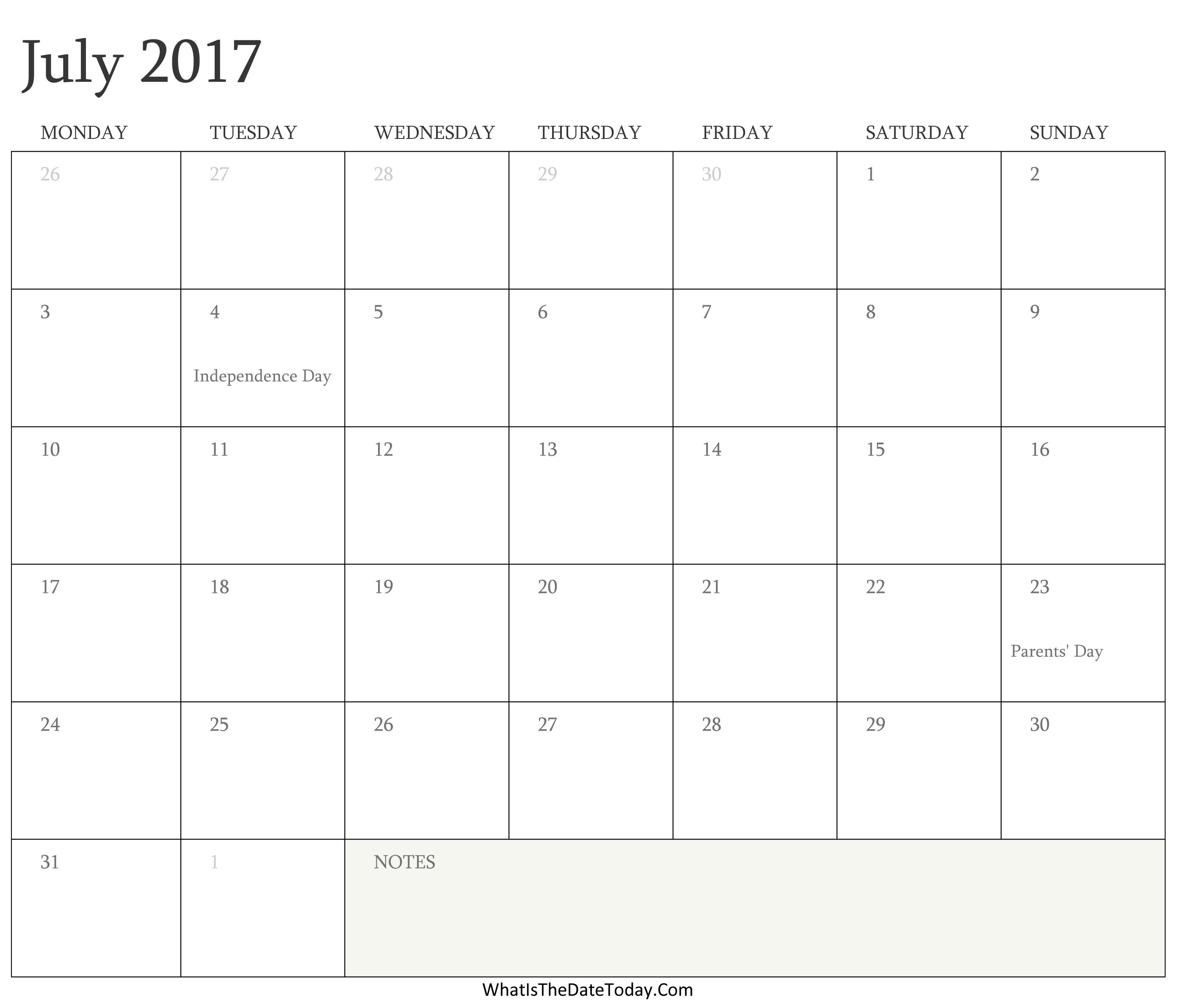 Editable Calendar July 2017 with Holidays