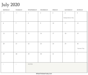 editable calendar july 2020 with holidays