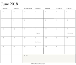 editable calendar june 2018 with holidays