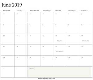 editable calendar june 2019 with holidays