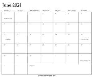 editable calendar june 2021 with holidays