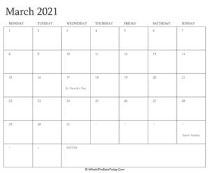 March 2021 Calendar Templates   Whatisthedatetoday.Com