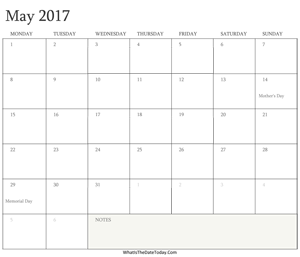 editable calendar may 2017 with holidays