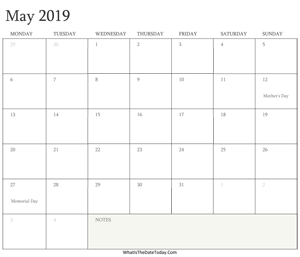 editable calendar may 2019 with holidays