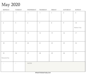 editable calendar may 2020 with holidays