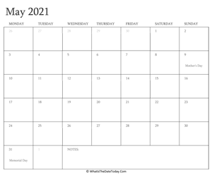 editable calendar may 2021 with holidays