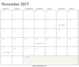 editable calendar november 2017 with holidays