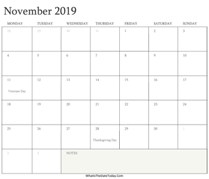 editable calendar november 2019 with holidays