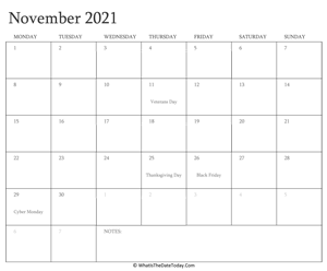 editable calendar november 2021 with holidays