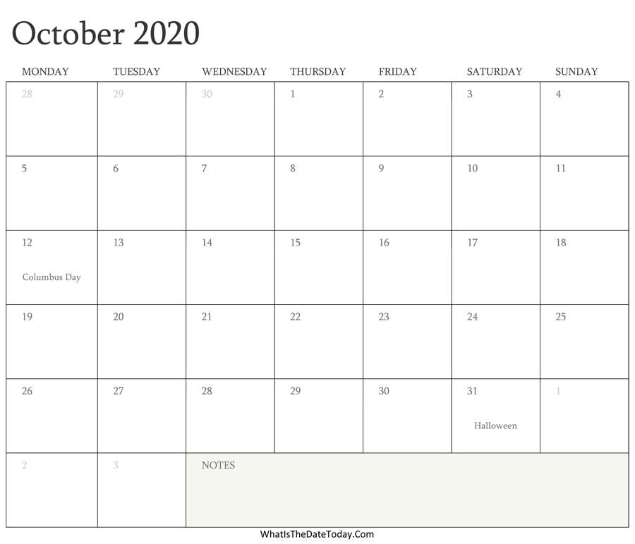 Editable Calendar October 2020 Editable Calendar October 2020 with Holidays | Whatisthedatetoday.Com