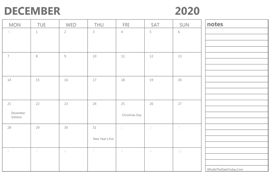 Editable December 2020 Calendar With Holidays And Notes