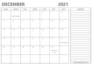 editable december 2021 calendar with holidays and notes