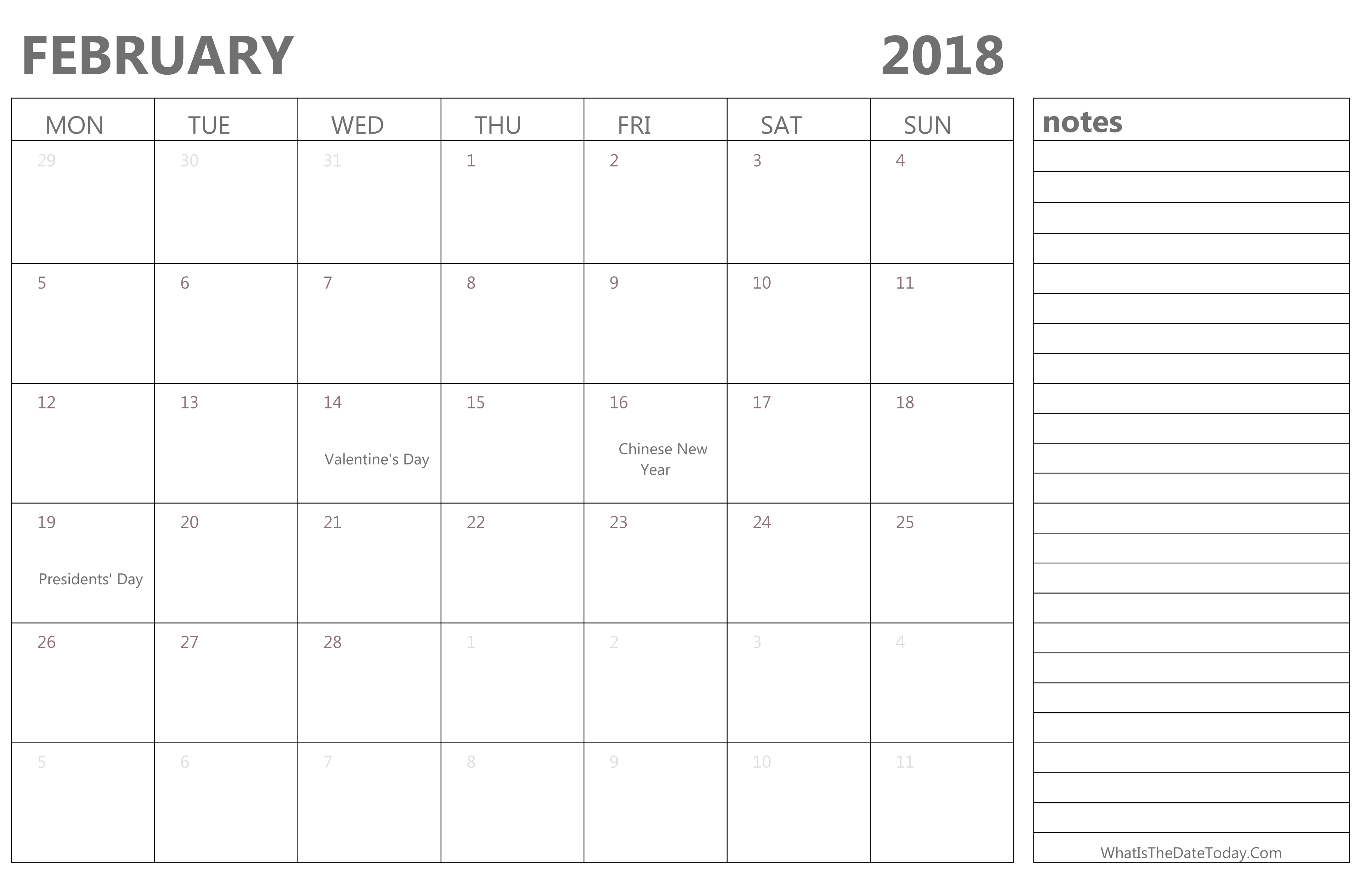 editable february 2018 calendar with holidays and notes