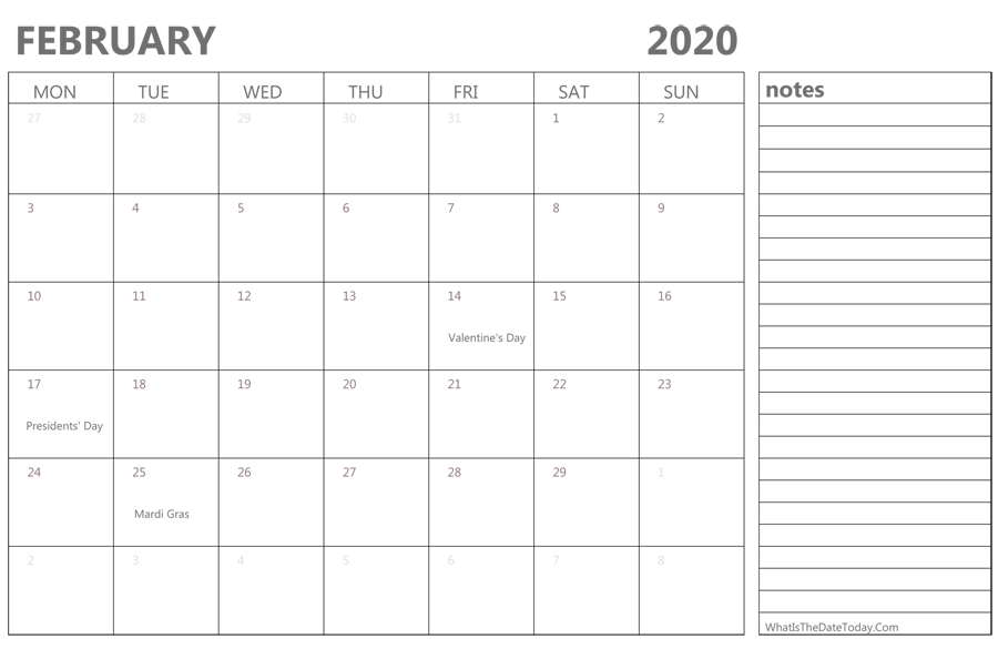 Editable february 2020 Calendar with Holidays and Notes
