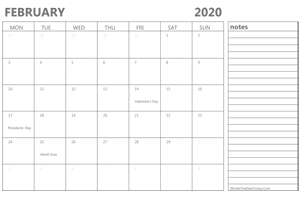 editable 2020 february calendar with notes