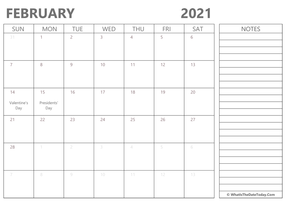 Editable february 2021 Calendar with Holidays and Notes