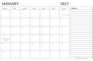 editable january 2017 calendar with holidays and notes