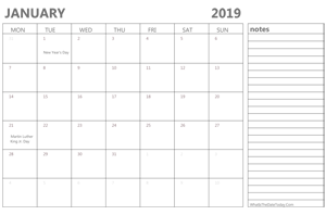 editable january 2019 calendar with holidays and notes