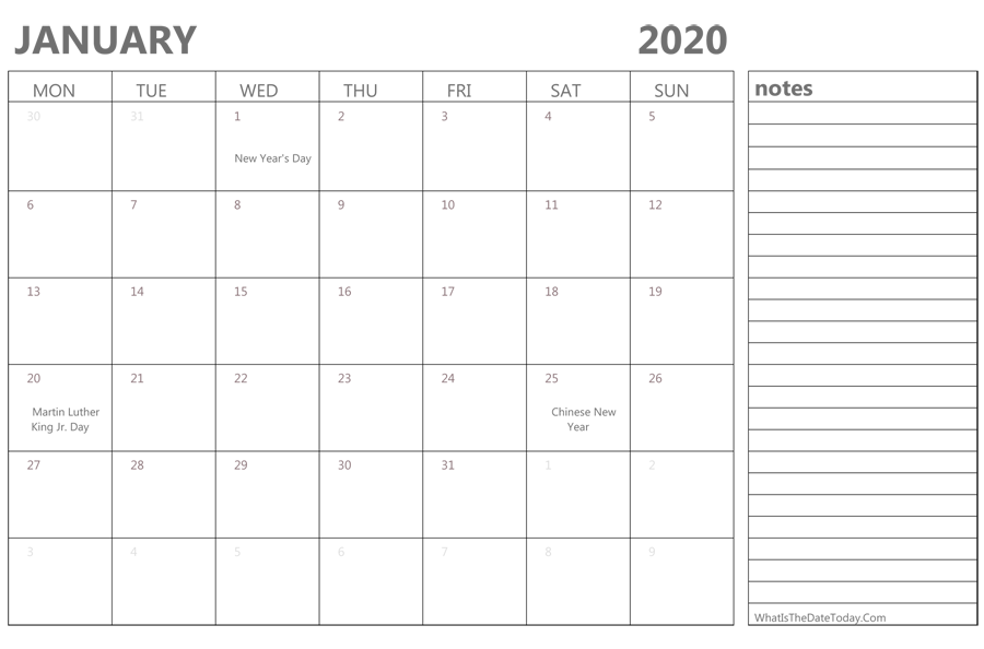 Download Calendar January 2020 Editable January 2020 Calendar with Holidays and Notes