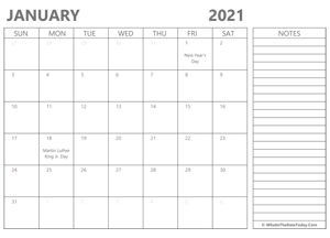 editable january 2021 calendar with holidays and notes