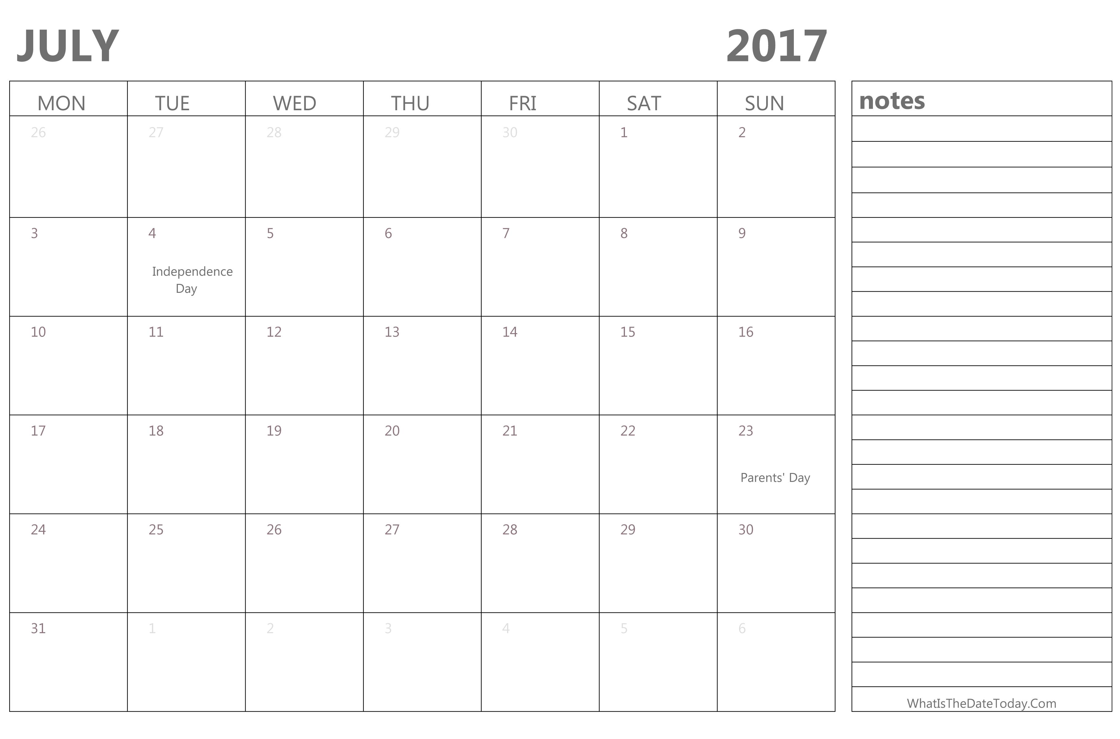 Editable Calendar July 2017 with Holidays | Whatisthedatetoday.Com