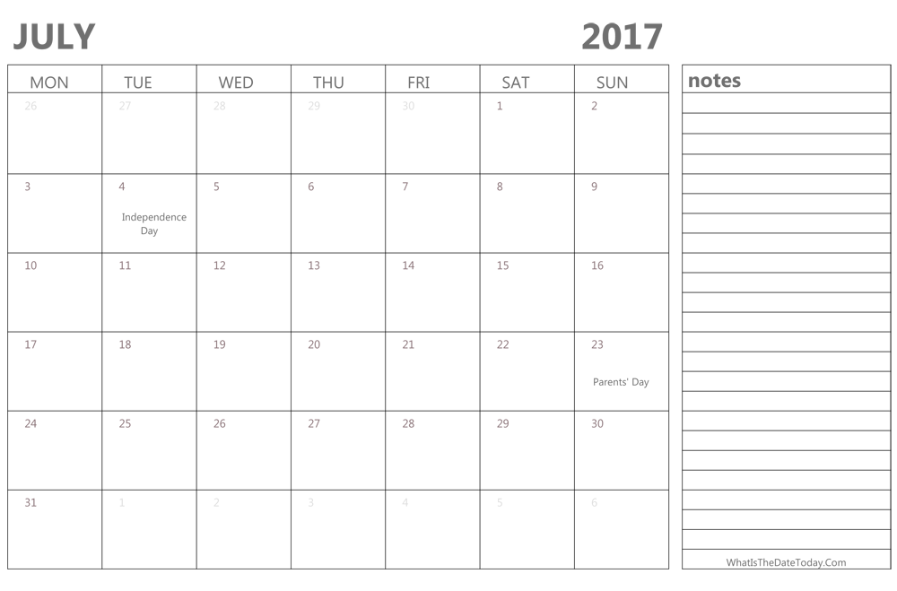 editable july 2017 calendar with holidays and notes