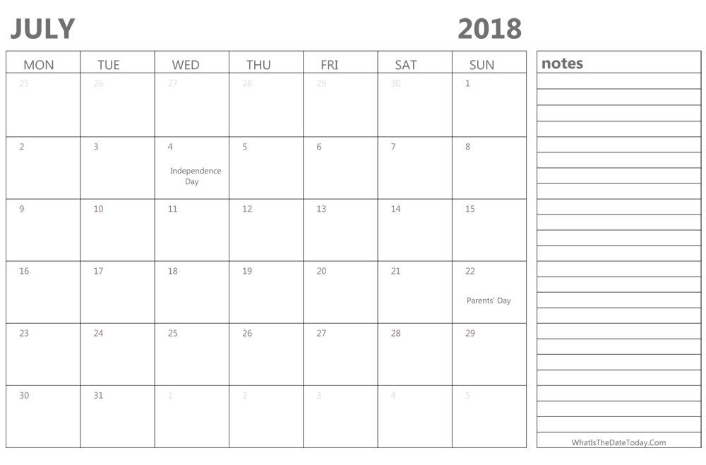 Weekly Calendar With Notes : Editable july calendar with holidays and notes