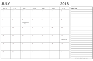 editable 2018 july calendar with notes