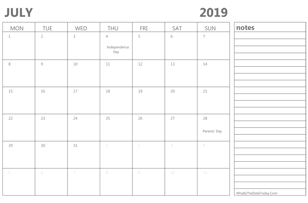 Editable July 2019 Calendar With Holidays And Notes